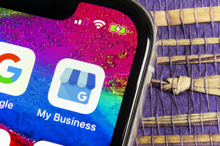 Google My Business application icon on Apple iPhone X screen close-up. Google My Business icon. Google My business application. Social media network